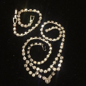 Vintage crystal rhinestone necklace and bracelet